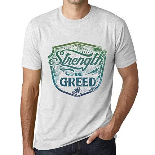 Herren Tee Männer Vintage T Shirt Strength and Greed Weiß Gesprenkelt