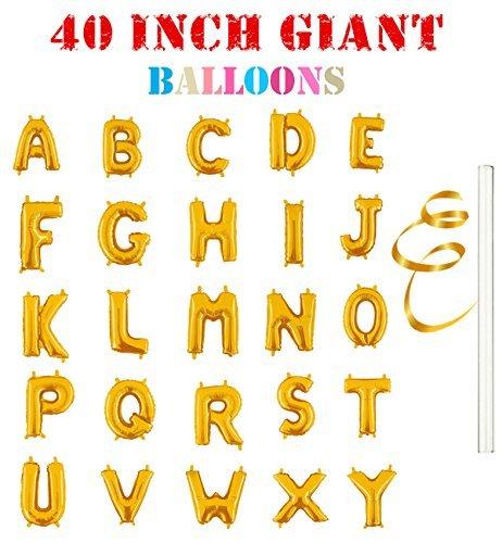 Rose&Wood 40 Single Gold Alphabet Letter Balloons Aluminum Hanging Foil Film Balloon Mylar Balloons (40,Letter N)