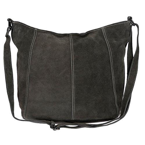 Christian Wippermann Luxus Beuteltasche Damentasche aus butterweichem Wildleder (Dunkel Grau)