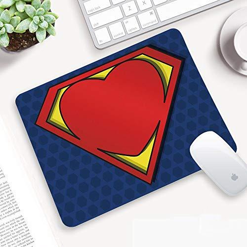 Alfombrilla Ratón 320x250 mm,Superhéroe, el logotipo de My Super Man Shield con la figura del corazón,Antideslizante e Alfombrilla goma Impermeable Ideal para Portátil, Teclado, Gaming Hogar y Oficina
