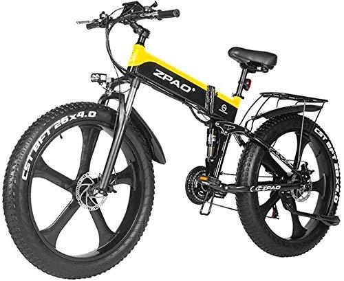 Nueva bicicleta de montaña eléctrica, 26 pulgadas Fat Tire Bicicleta eléctrica Pedal 48V 1000W Motor Nieve bicicleta eléctrica con la montaña bicicleta eléctrica Assist batería de litio de disco hidrá
