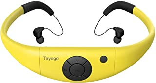 Waterproof MP3 Player, IPX8 Swimming Headphones with Shuffle Feature - Yellow