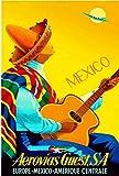 ABLERTRADE Cartel de Metal con Texto en inglés 1948 México por Clipper Mexicano, español, Vintage, de Viaje, para Publicidad, Arte de estaño, Carteles de decoración de Pared, 20,3 x 30,5 cm