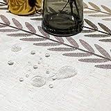 SUNBEAUTY Tischdecke Rechteckig Abwaschbar Baumwolle Leinen Tischtuch Elegant Tischwäsche wasserdichte Tischdecke 140x220 cm für Home Küche Speisetisch Dekoration - 3