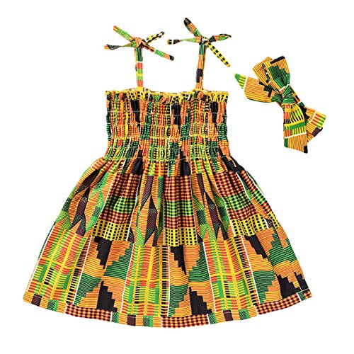 GRNSHTS African Dresses for Baby Girls Toddler Kids Print Sleeveless Halter Dress Boho Clothes + Hair Band (Yellow, 3-4 T)