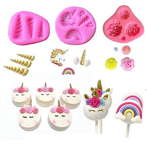 Mini Unicorn Mold Unicorn Horn Ears Flower and Rainbow Cupcake Topper Fondant Chocolate Mold( Set of 3)