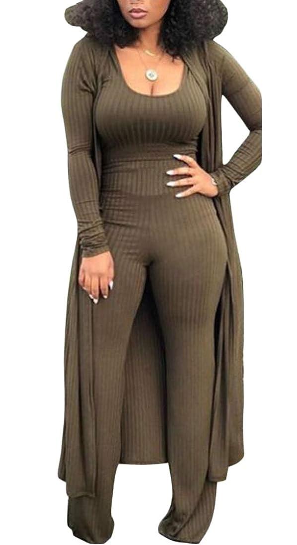 マイナージャンル好意的女性パンツタンクトップリブ3 pcsカーディガンスリムフィット衣装