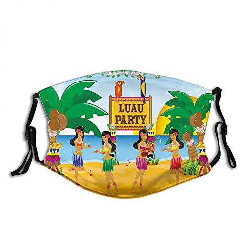 Escudo antipolvo para mujeres y hombres, fiesta hawaiana Luau en estilo de dibujos animados bailarines en la playa festiva, fundas cómodas