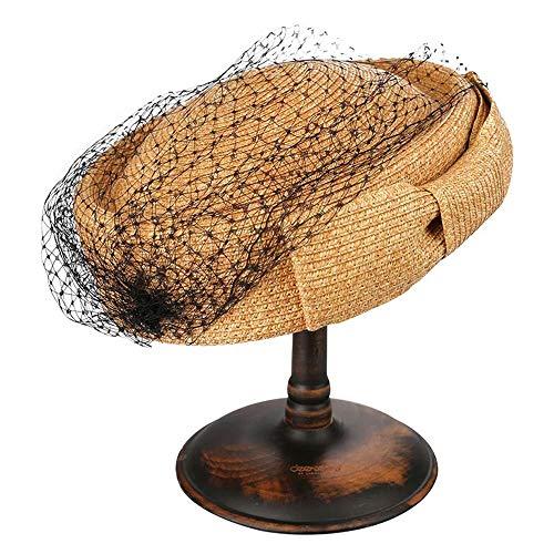 CEyyPD Sombrero Retro Ajustable del Brote del Brote del Cordón Elegante De La Moda De Las Mujeres (Color : Brown)