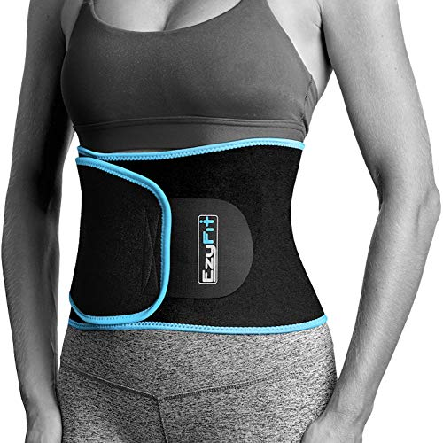 EzyFit Waist Trimmer Premium Exercise Workout Ab Belt for Women & Men Adjustable Stomach Trainer & Back Support, Black Blue Trim Fits 24-42
