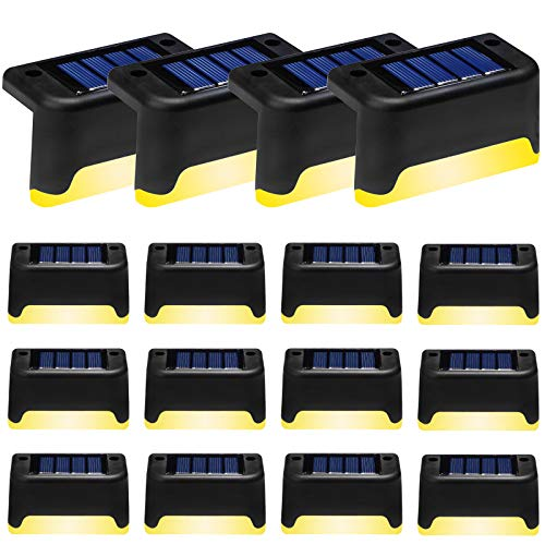Solar Deck Lights Outdoor,16 Pack LED Step Light Waterproof Landscape Lighting for Stairs,Step,Fence,Yard,Patio,Driveway,Pathway,Backyard and Garden (Warm, Black)