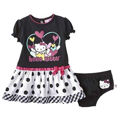 Hello Kitty Robe pour bébé Taille 50 56 62 68 74 Costume d'été pour fille Noir Taille 50 56 62 68 74 - Noir - 3 mois