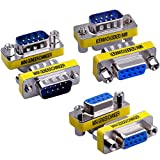 Warmstor 6-Pack 9Pin RS232 Serial Cable DB9 Male to Male/Female to Female/Male to Female Mini Gender Changer Adapter Coupler Connector