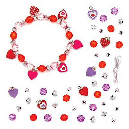 Baker Ross Kits de bracelet à breloques cœur (Paquet de 3) - Loisirs créatifs de la Saint-Valentin pour enfants et adultes, AT418