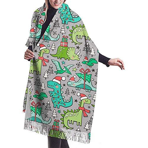 Cathycathy kerstfeestdag dinosaurus bomen op lichtgrijze sjaal-verpakking winter-warme sjaalkap grote zachte sjaalverpakking