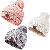 REDESS Baby Kids Winter Warm Fleece Lined Hats, Infant Toddler Children Pom Pom Beanie Knit Cap Girls Boys