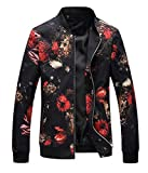 NXSTB Men's Bomber Jacket Casual Slim Fit Printed Outerwear Coat
