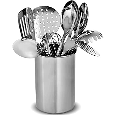 FineDine Premium Stylish 10-Piece Kitchen Utensil Set, Modern Stainless Steel Gadgets for Everyday Cooking - Turner, Spaghetti Server, Ladles, Spoons, Whisk, Meat Fork, and Tool Set Holder