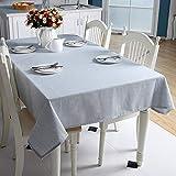 GTWOZNB Cubierta de Mesa Lavable Resistente al Aceite, Rectángulo Liso Simple de algodón y Lino-Azul Claro_120 x 160