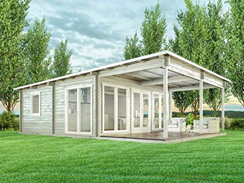 CARLSSON Gartenhaus Carroz-Modern 70 aus Massiv-Holz | Gerätehaus mit 70 mm Wandstärke | Garten Holzhaus inklusive Montagematerial | Geräteschuppen Größe: 598 x 898 cm | Pultdach