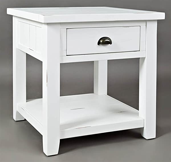 Jofran End Table In Weathered White Finish