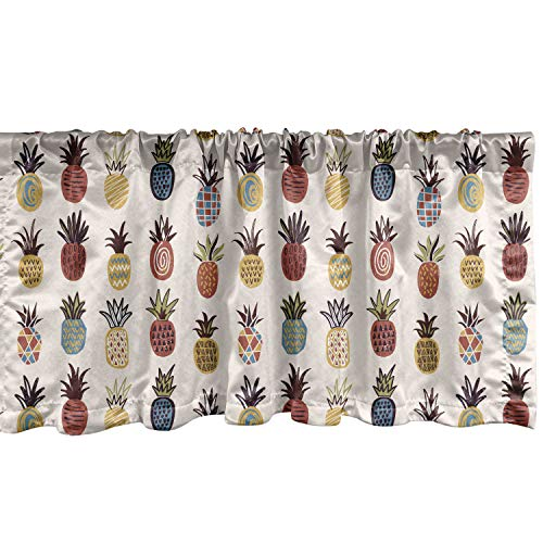 Lunarable Pineapple Window Valance, Continuous Pattern of Abstract Ornamental Tropical Fruit, Curtain Valance for Kitchen Bedroom Decor with Rod Pocket, 54' X 18', Champagne