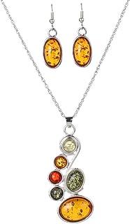 Artificial Amber and Alloy Earring Pendant Necklace Women Dress Jewelry Set,Colour:orange (Color : Orange)