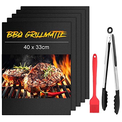 mixigoo BBQ Grillmatte, 5er Set Grillmatten zum Grillen und Backen, Wiederverwendbar Antihaft FDA Barbecue Matten für Fleisch, Fisch und Gemüse mit grillzange und Backpinsel, 40 x 33cm
