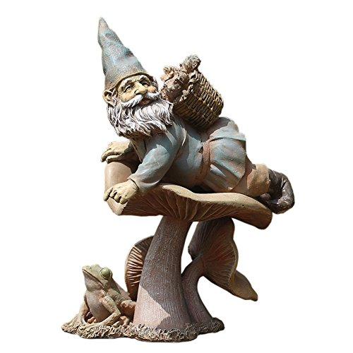 Napco Magical Gnome 12 Inch Resin Decorative Fairy Garden Statue Figurine, Blue