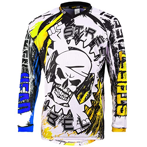 Broken Head MX Jersey Street Rebel Blau-Gelb - Langarm Funktions-Shirt Für Moto-Cross, BMX, Mountain Bike, Offroad - XL
