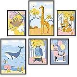 Poster Kinderzimmer 6er Set A3 & A4 - Kinderzimmer Wanddeko