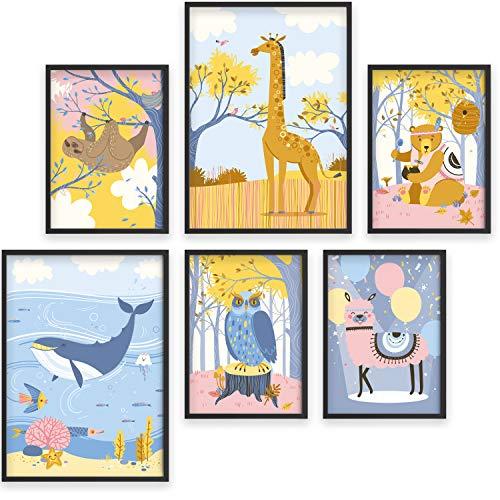 Cuadros para la habitación del bebé - Set de 6 pósters de animales - Marcos de fotos A4 y A3 para niños - Impresiones divertidas y...