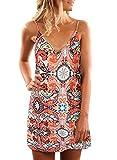 Sidefeel Women Print V Neck Sleeveless Strap Beach Casual Mini Dress X-Large Orange