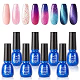 Pink Blue Purple Gel Nail Polish Luxurious Kit - Candy Lover 8 Mixed Colors Solid Sparkle Glitter Temperature Changing Cat Eye Selected Summer Fall Collection, UV/LED Nail Art Manicure Gift Set