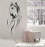 Vinilo Adhesivo de pared Cita Decoración para el hogar Cabeza de caballo Animal Animal doméstico para sala de estar dormitorio