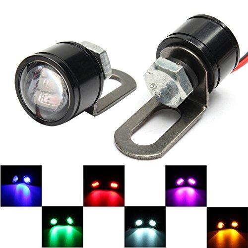 Alamor Paire 12V Moto Miroir Mount Eagle Eye Led Flash Stroboscopes Lampe De Secours Feux - Bleu