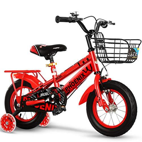 Longteng Las Bicicletas De 16 Pulgadas Ciclo Al Aire Libre De Bicicletas Antideslizante Ruedas con Auxiliar Intermitente Ruedas For Niños con Las Cestas For Niños Y Niñas (Color : Rojo, Size : A)