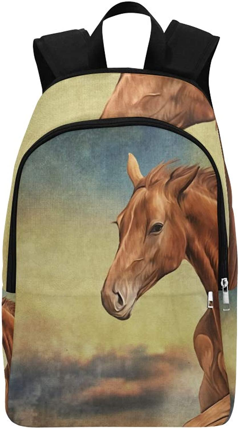 Drawing Red Horse Portrait Oil Painting Casual Daypack Travel Bag College School Backpack for Mens and Women