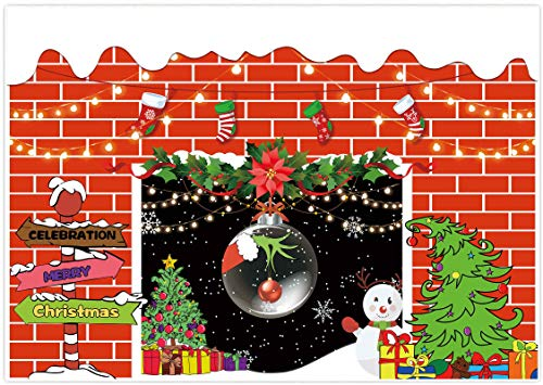 Allenjoy 7x5ft Merry Christmas Fireplace Party Backdrop Xmas Tree Snowflake Background Kids Birthday Baby Shower New Year Santa Celebration Party Decor Holiday Festival Video Photo Booth Props