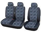 WOLTU AS7332 Cubiertas de Asiento de Coche universales para Transporter, 1 + 2 Fundas de Cubierta de Asiento Negro de poliéster Multicolor