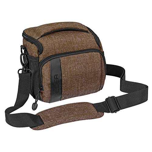 PEDEA DSLR-Kameratasche Fashion Fototasche für Spiegelreflexkameras mit wasserdichtem Regenschutz, Tragegurt und Zubehörfächern (Größe L, braun)