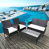 Recaceik 4 Piece Outdoor Furniture Set, Wicker Patio Garden Pool Lawn, Green Nlack