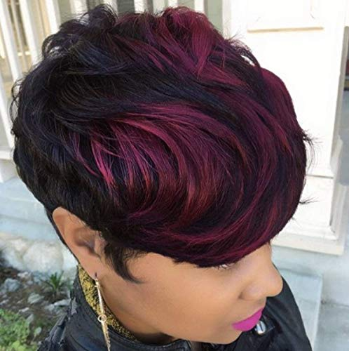 Nicelatus Short Ombre Burgundy Wigs for Black Women Short Synthetic Wigs with Wavy Bangs Short Pixie Cut Wig Ombre Hairstyle