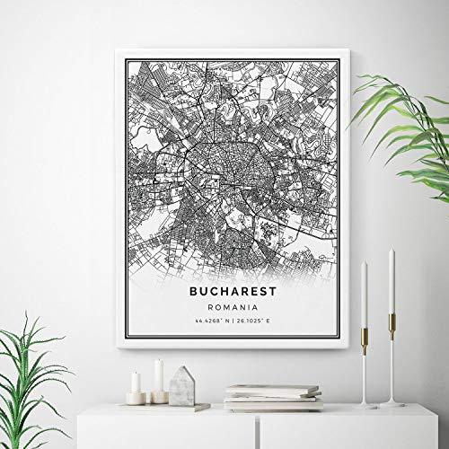 Squareious Bucharest Map Canvas Print, City Maps Wall Art, Romania Gift Minimalistic Artwork, Canvas Artwork, map Canvas Print | M523 18x24
