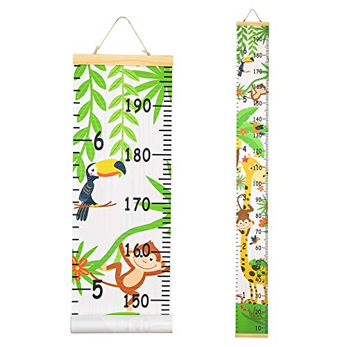 Beinou Wall Height Chart Growth Chart for Kids Wooden Wall Ruler 7.9'' x 79'' Canvas Height Measurement Wall Decor Hanging Height Measure for Baby Girls Boys Toddler Bedroom, Forest Animals
