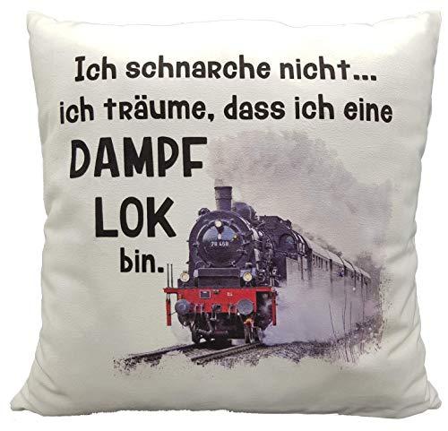Anti-Schnarch-Kissen Lokomotive Dampflok Spruch Ich schnarche nicht. Geschenk Lokführer Geburtstag Schnarchen Eisenbahn (Kuschelkissen flauschig)