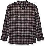Dickies Men's Long Sleeve Flex Flannel Shirt, Slate/Black Buffalo Check, Large
