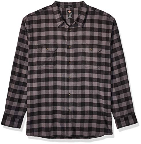 Dickies Herren Long Sleeve Flex Flannel Shirt Button Down Hemd, Schiefer/Schwarzer Büffelkaro, Klein