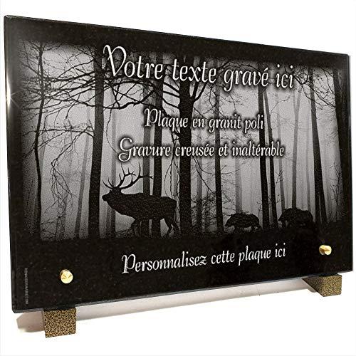 Plaque funéraire Chasseur Nature cerf Sanglier en Granit gravé Personnalisable 30 x 20 x 2 cm