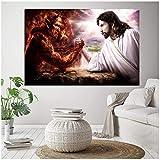sjkkad Jesus Christus VS Satan Leinwand Malerei Teufel VS